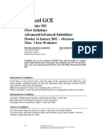 January 2002 QP - M3 Edexcel