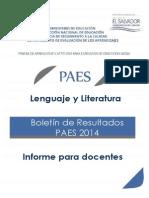 Boletn de Resultados Paes 2014 - Lenguaje y Literatura