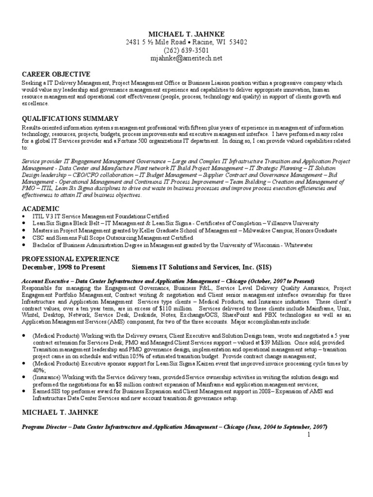 Mike Jahnke Resume For It Pmo Or Account Executive Project