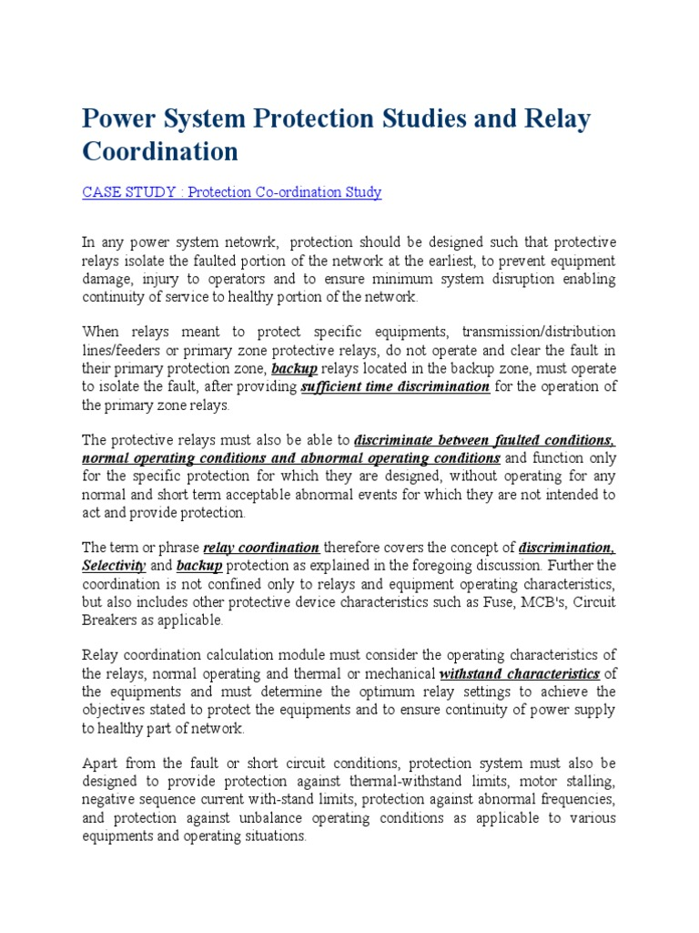 Power System Protection Studies And Relay Coordinationdocx Basic Of Coordination Electric