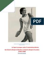 Comunicato Stampa Mostra Sport Europeo Sotto Il Nazionalsocialismo