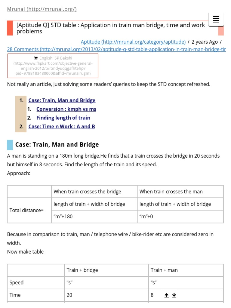 Aptitude Q] STD Table _ Application in Train Man Bridge, Time and ...
