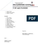 LIST OF A&E passers
