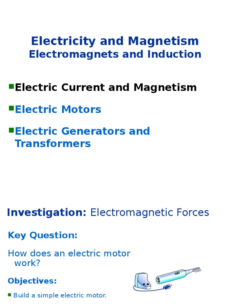 Electromagnetism Slides Electromagnetic Induction Electric Generator Faraday The Invention Of Motor And