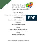 ENSAYO (Bases Psicológicas Del Aprendizaje)