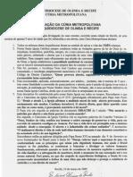 Carta Arquidiocese de Olinda