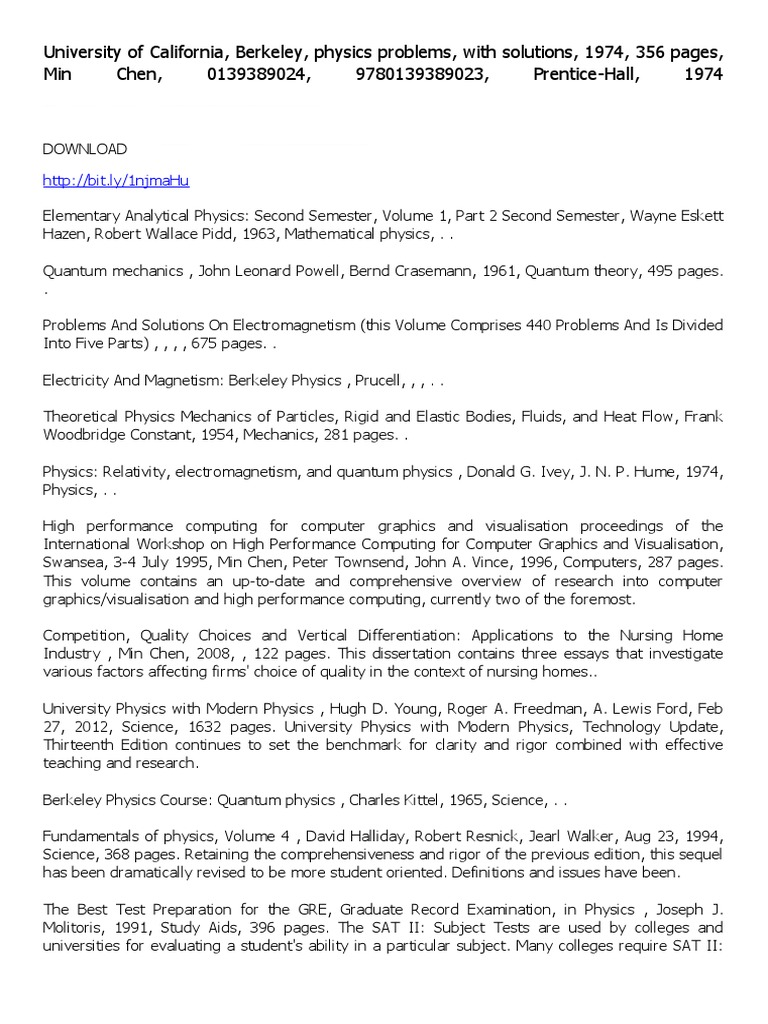 University of California Berkeley Physics Problems With Solutions |  Graduate Record Examinations | Physics & Mathematics