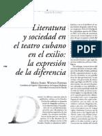 Literatura y Sociedad en El Teatro Cubano en El Exilio La Expresion de La Diferencia