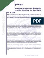 Nota de Prensa - El Pleno de San Martín de La Vega Aprueba Una Reducción de Sueldos a La Corporación Municipal