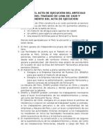 Resumen Del Acta de Ejecución Del Artículo Quinto Del Tratado de Lima de 1929 y Reglamento Del Acta de Ejecucion
