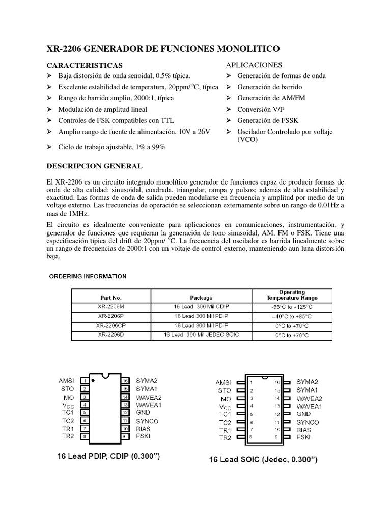 Circuito Xr2206 : Circuito integrado xr para generar formas de onda