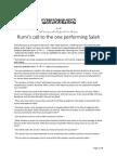 Maulana Jalaluddin Rumi's Call to the one in Prayer