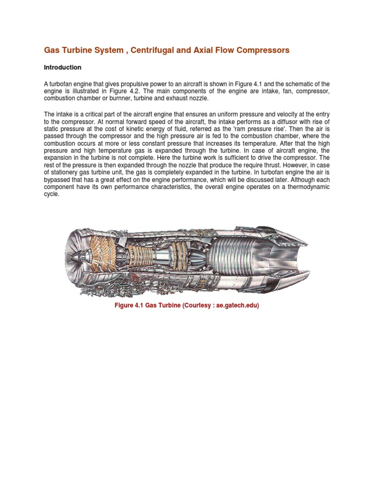 Gas Turbine System Propulsion Compressor Turbomachinery Turbojet Engine Diagram