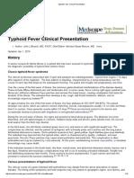1. Typhoid Fever Clinical Presentation