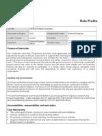 Summer Internship Scheme 2014 - External Relations Assistant - Role Profile