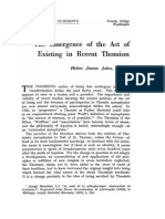 The Emergence of the Act of Existing in Recent Thomism