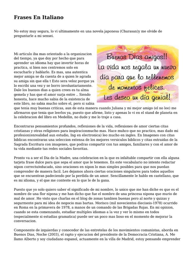 Frases En Italiano Idioma Español Amor