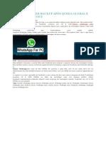 Whatsapp Fazer Backup Após Queda Global e Facebook Buyout