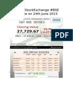 #IndiaStockExchange #BSE Update on 24th June 2015