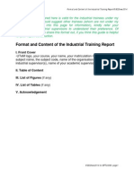 Format for the Industrial Training Report