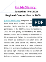 Justin McGlamry Participated In The DECA Regional Competition In 2009