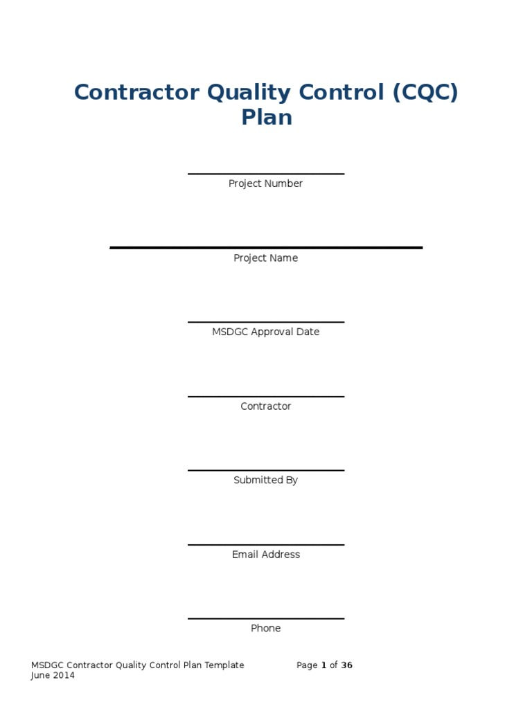 Quality Control Plan Template Quality Management Plan Example