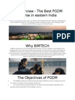 An Overview - The Best PGDM Course in Eastern India