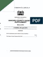Nakuru County Nuisance Bill 2014