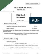 Brevet National 2015 - Français