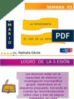 La Monografia y LA MONOGRAFIA Y EL USO DE LA INFORMACIÓNEl Uso de La Información