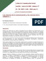 García, F. (2000). 'Las Ciencias de La Comunicación y Las Ciencias de La UNESCO'