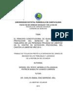 EL PRINCIPIO CONSTITUCIONAL DE IGUALDAD PARA LA PROTECCIÓN DEL DERECHO DE RELACIONES FAMILIARES DE LAS PERSONAS PRIVADAS DE LIBERTAD EN EL CENTRO DE DETENCIÓN PROVISIONAL DEL CANTON LA LIBERTAD AÑO 2014.