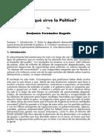 Para Que Sirve La Politica? por Benjamín Fernandez Bogado