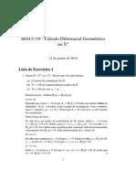 Lista 1 - MAT5719 - Cálculo Diferencial Geométrico no Rn