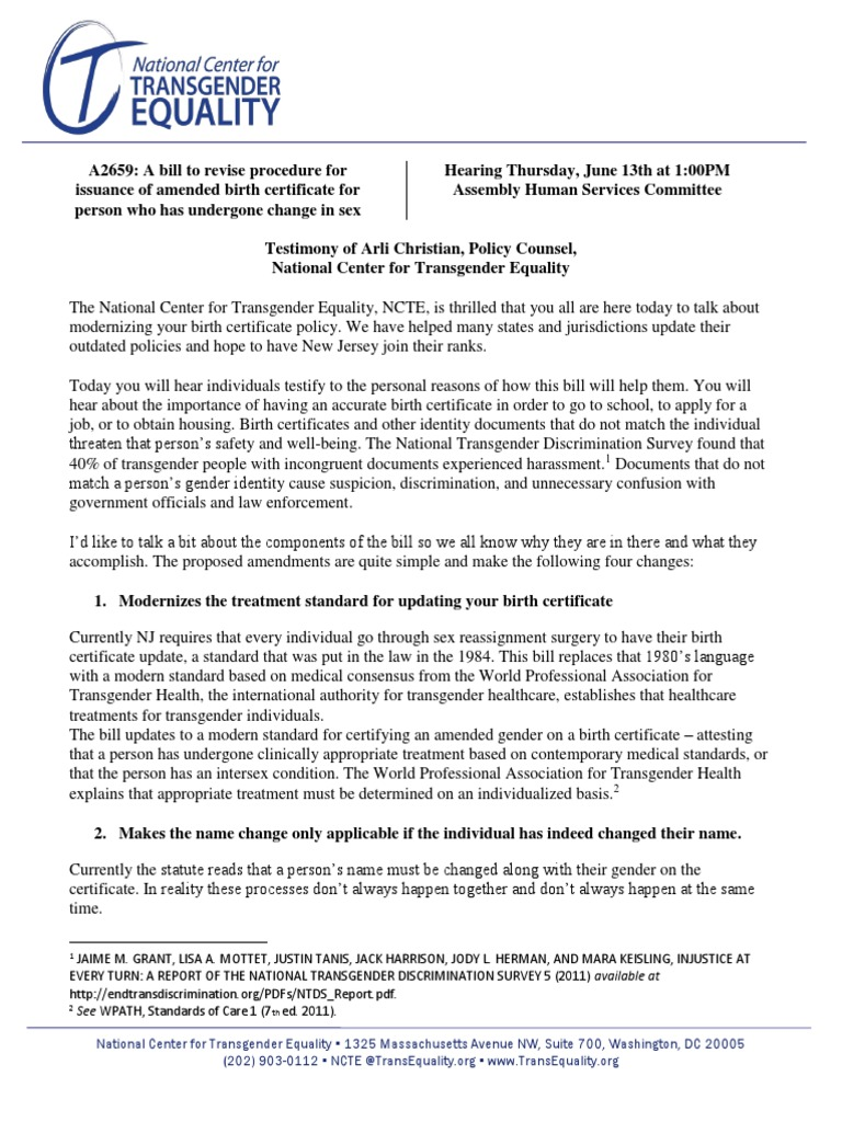 Ncte statement on new jersey birth certificate modernization bill ncte statement on new jersey birth certificate modernization bill lgbtq rights transgender aiddatafo Image collections