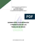 Normas Para La Elaboración y Presentación de Los Trabajos de Grado