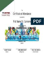 Sample Seminar Certificate