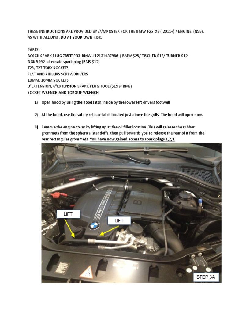 BMW X3 F25 Spark Plug DIY | Electrical Connector | Screw