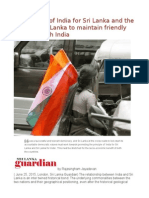 Importance of India for Sri Lanka and the Need for Sri Lanka to Maintain Friendly Relations With India
