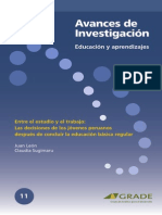 Entre El Estudio y El Trabajo. Las Decisiones de Los Jovenes Peruanos Despues de Concluir La Ebr. Juan Leon Claudia Sugimaru