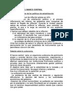 Resumen Banco Central