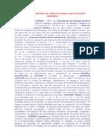 Modelo de Escritura de Constitucion de Una Sociedad Anonima