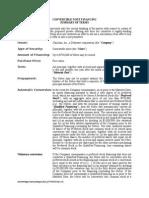 Convertible Note Term Sheet