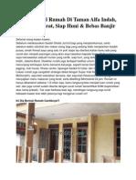Iklan Dijual Rumah Di Taman Alfa Indah, Jakarta Barat, Siap Huni & Bebas Banjir
