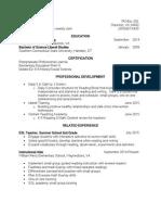teacher resume 2015 2 page