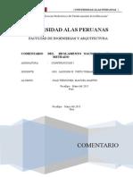 Comentario y Conclusiones del Reglamento Nacional de Edificaciones