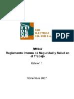 RM047 Reglamento Interno de Seguridad y Salud en El Trabajo
