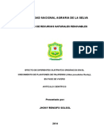 EFECTO DE DIFERENTES SUSTRATOS ORGÁNICOS EN EL CRECIMIENTO DE PLANTONES DE PALIPERRO (Vitex pseudolea Rusby), EN FASE DE VIVERO