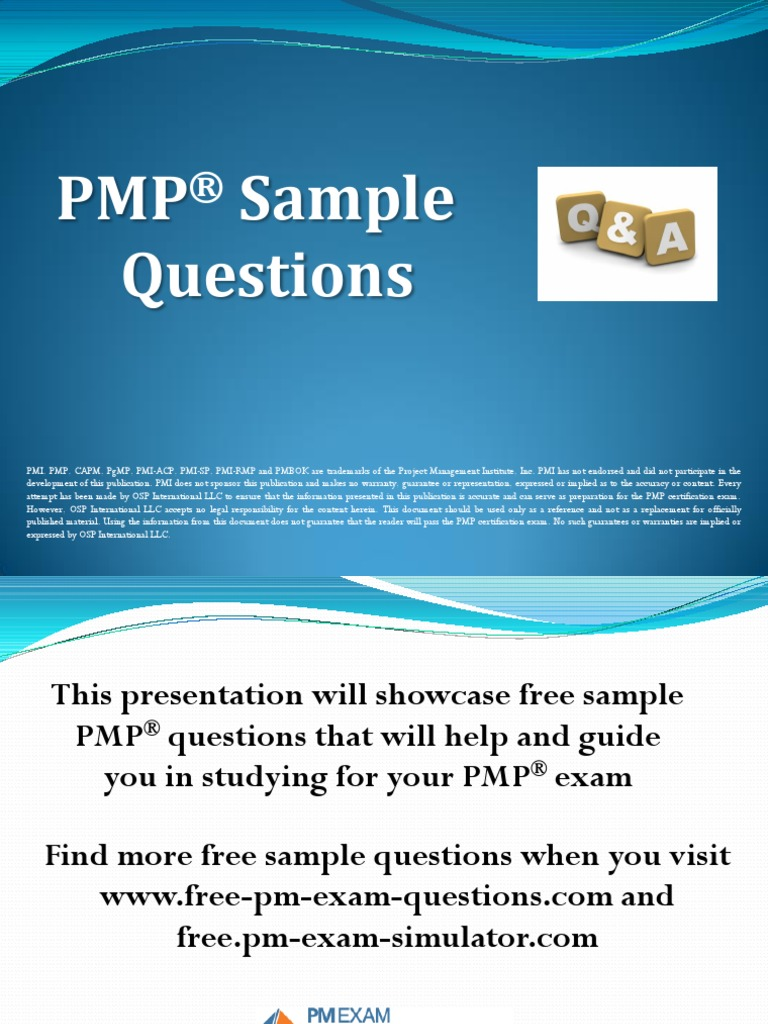 Pmp five sample questions project management professional risk 1betcityfo Choice Image