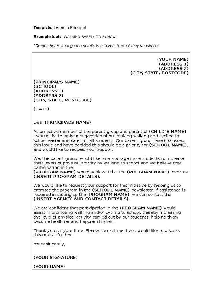 Template letter to principal school council spiritdancerdesigns Images